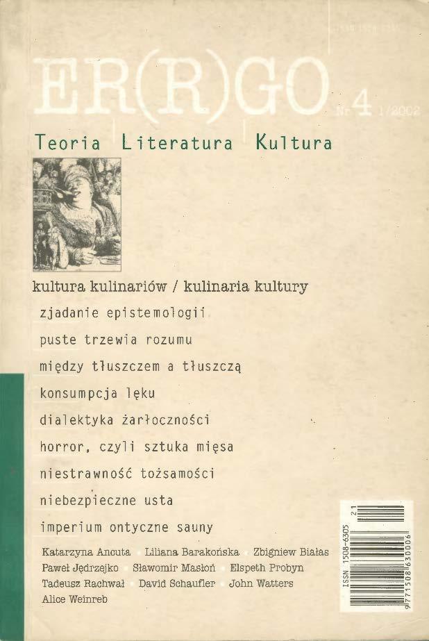 ER(R)GO nr 4 (1/2002) - kultura kulinariów/kulinaria kultury